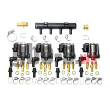 Газовые форсунки STAG W-03 4 цил., с жиклерами D1,5 мм и штуцером в коллектор + распределитель